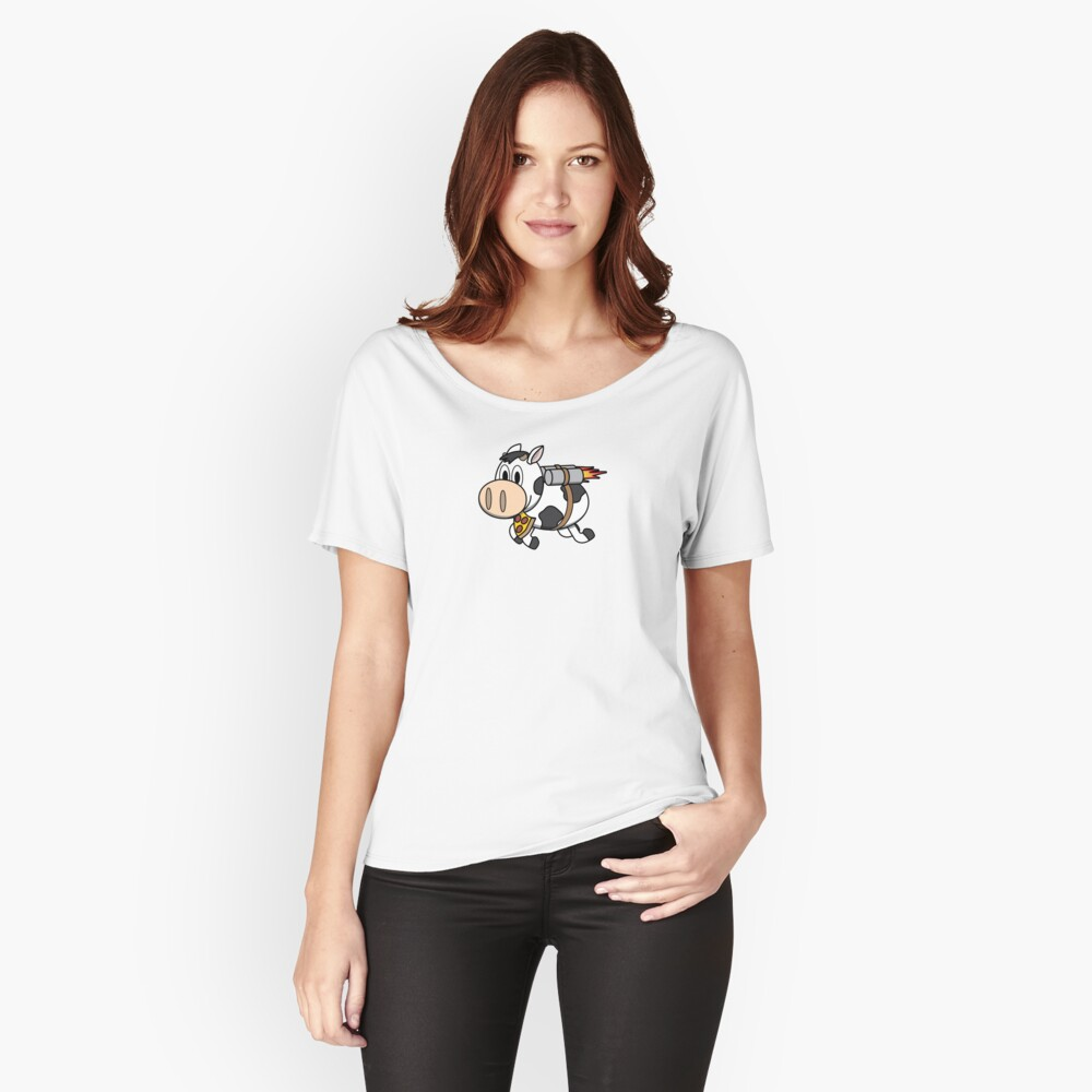 Cow Eating Pizza Wearing a Jetpack Relaxed Fit T-Shirt