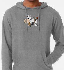 Cow Eating Pizza Wearing a Jetpack Lightweight Hoodie