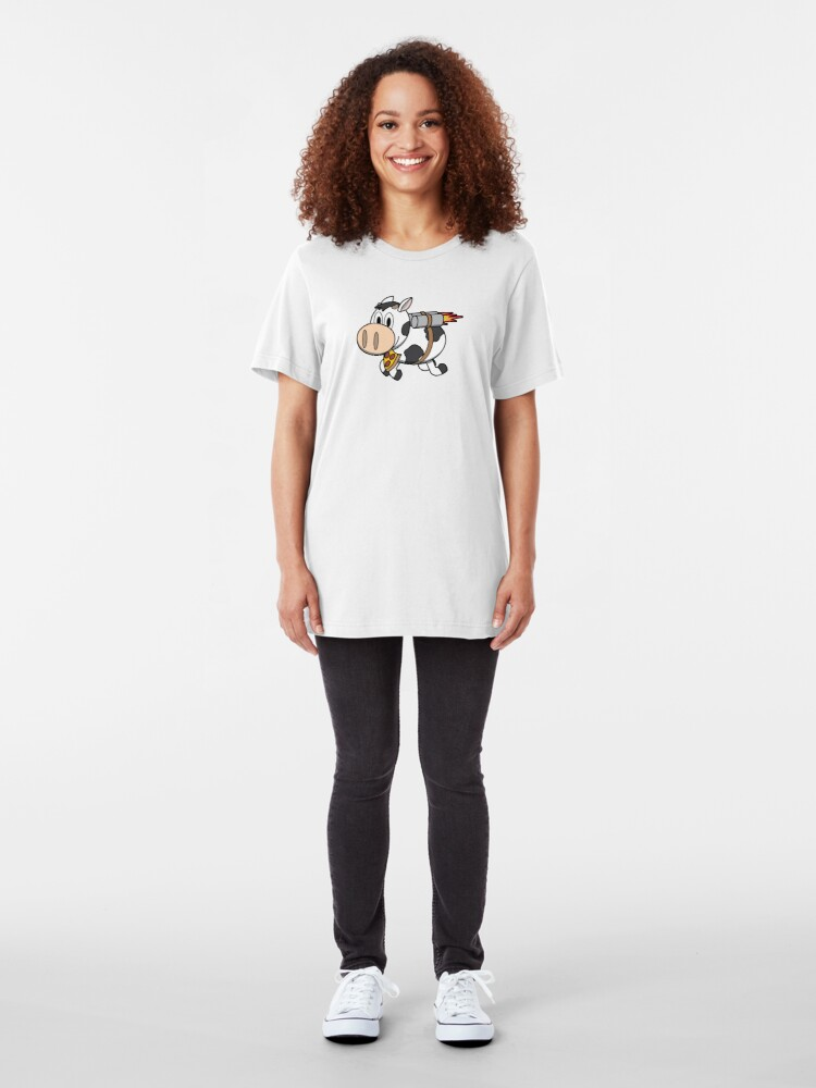 Alternate view of Cow Eating Pizza Wearing a Jetpack Slim Fit T-Shirt