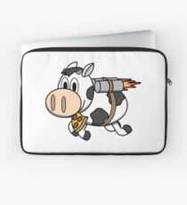 Cow Eating Pizza Wearing a Jetpack Laptop Sleeve