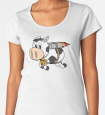 Cow Eating Pizza Wearing a Jetpack Premium Scoop T-Shirt
