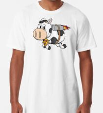 Cow Eating Pizza Wearing a Jetpack Long T-Shirt