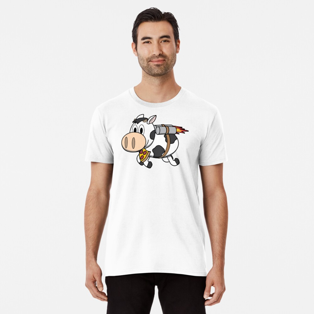 Cow Eating Pizza Wearing a Jetpack Premium T-Shirt