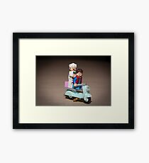 Marty and Doc ride a Scooter Framed Print