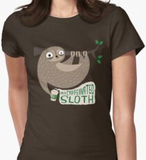 Caffeinated Sloth Women's Fitted T-Shirt