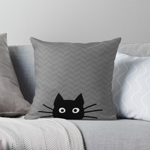 Black Cat Face Throw Pillow
