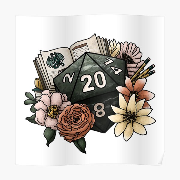 Dungeon Master D20 - Tabletop Gaming Dice Poster