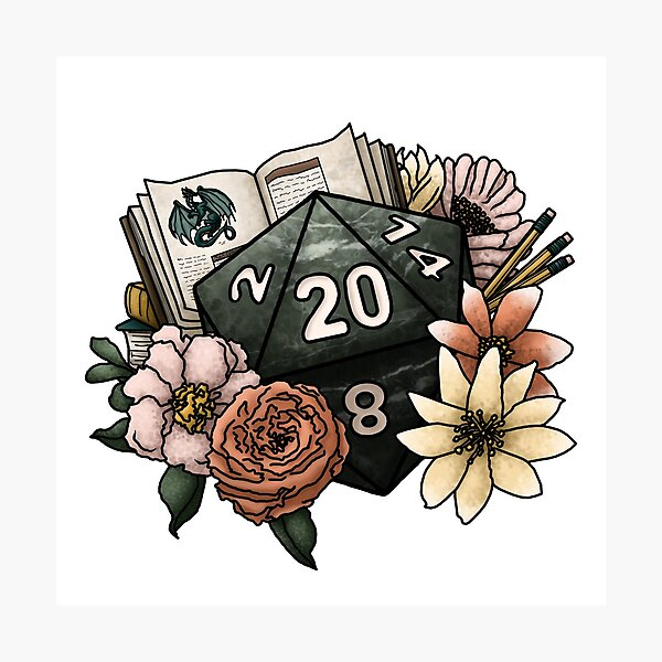 Dungeon Master D20 - Tabletop Gaming Dice Photographic Print