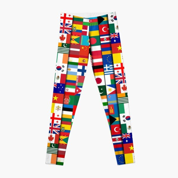 60 Flags of the Countries of the World, International Gift Leggings