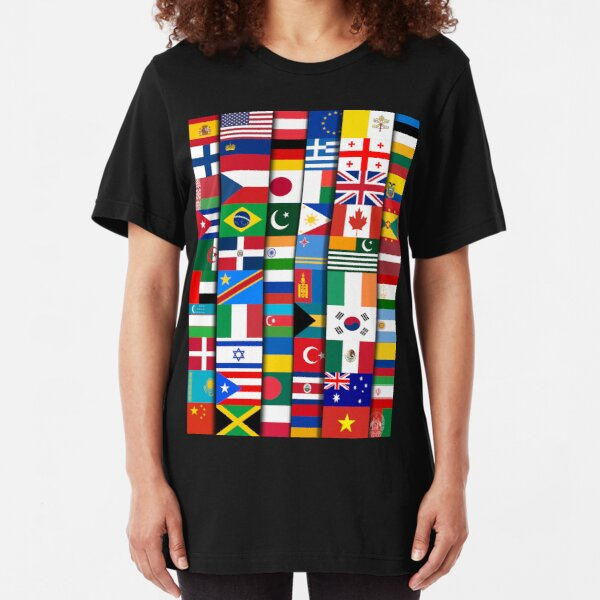 60 Flags of the Countries of the World, International Gift Slim Fit T-Shirt