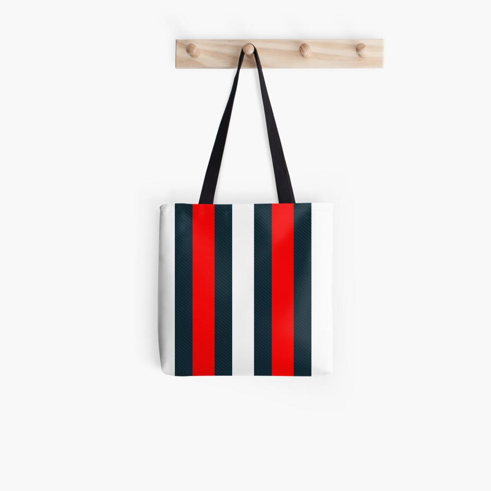Red White Vertical Pattern Stripes Tote Bag