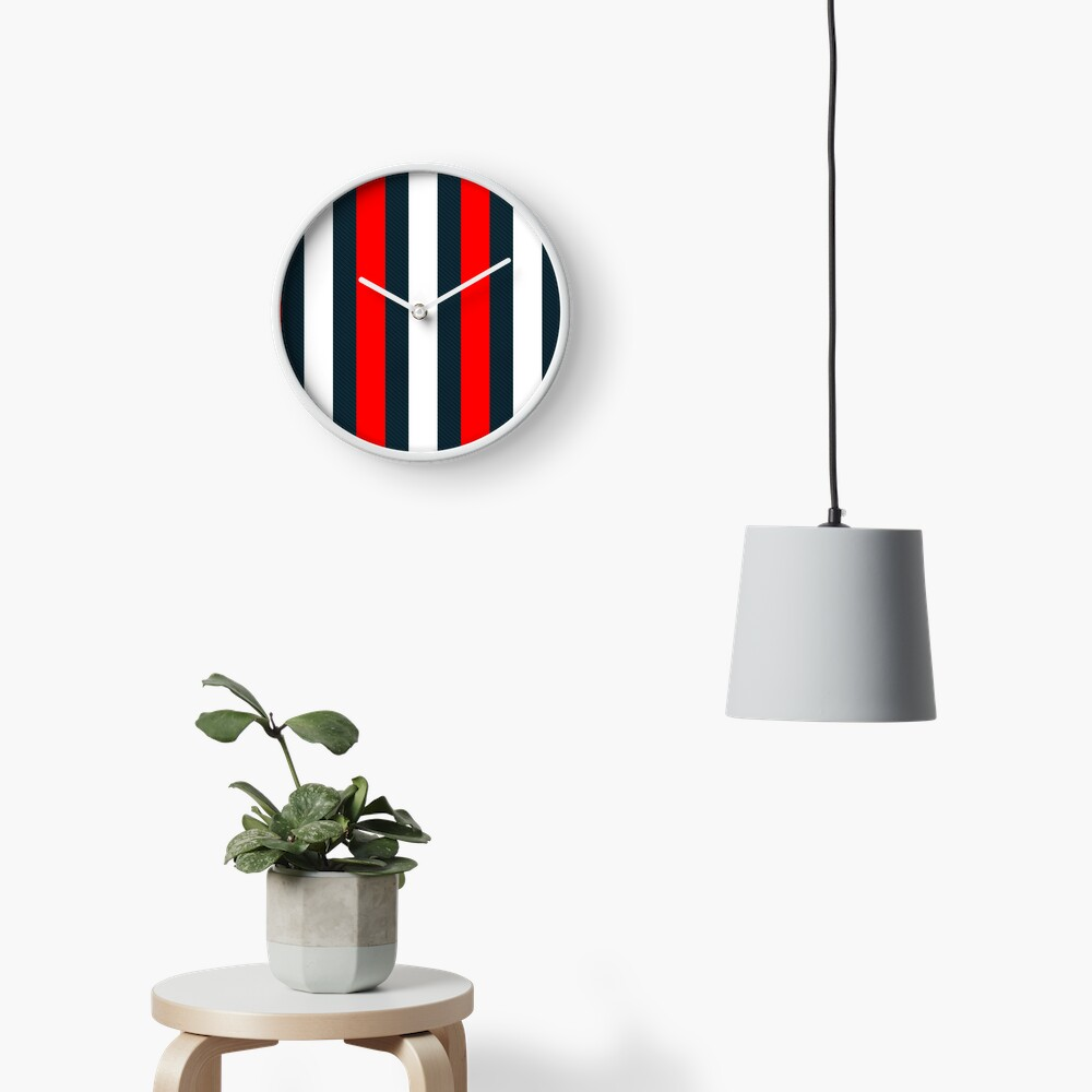 Red White Vertical Pattern Stripes Clock