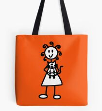 The Girl with the Curly Hair Holding Cat - Orange Tote Bag