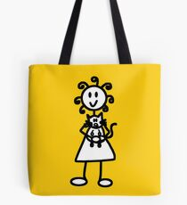 The Girl with the Curly Hair Holding Cat - Yellow Tote Bag