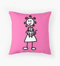 The Girl with the Curly Hair Holding Cat - Pink Throw Pillow