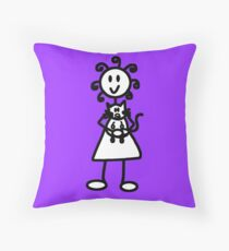 The Girl with the Curly Hair Holding Cat - Light Purple Throw Pillow