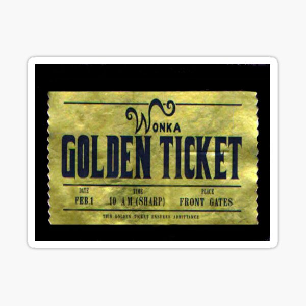 willy wonka golden ticket Sticker