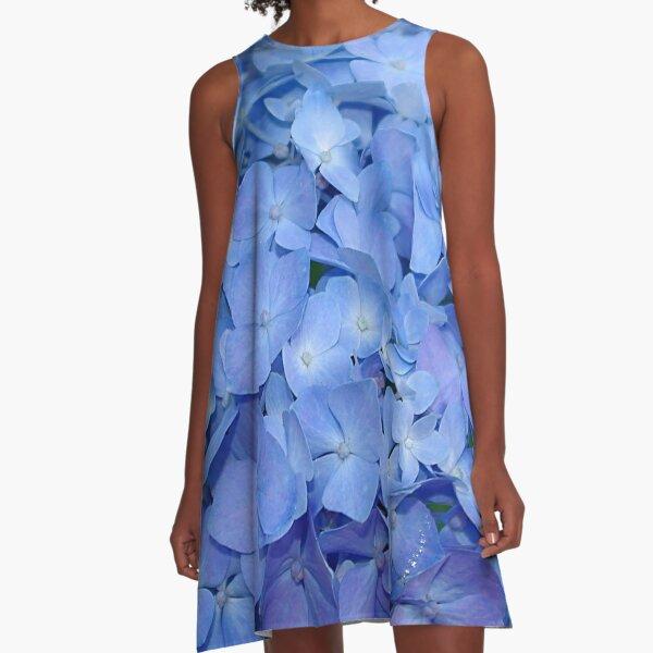 Blue hydrangea flower A-Line Dress