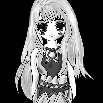 Cute Black And White Anime Girl by KaylinArt