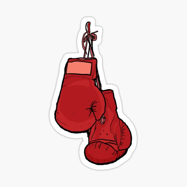 Hanging Red Boxing Gloves Sticker