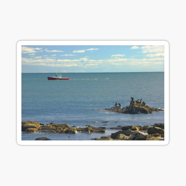 Lobster Boat Working off Rocky Seawall Beach Acadia National Park Sticker