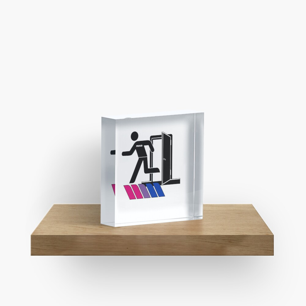 Out and Proud Bi Bisexual Flag LGBT Pride Acrylic Block