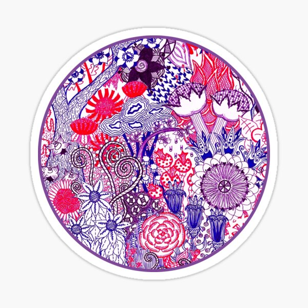 Floral Jungle Purple  Sticker