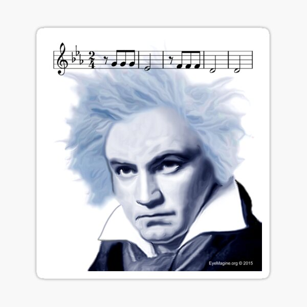 Beethoven and Fifth Symphony Opening Notes Sticker