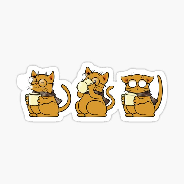 Cat, Coffee and Glasses Sticker