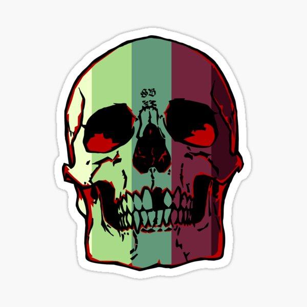 Striped Skull Sticker