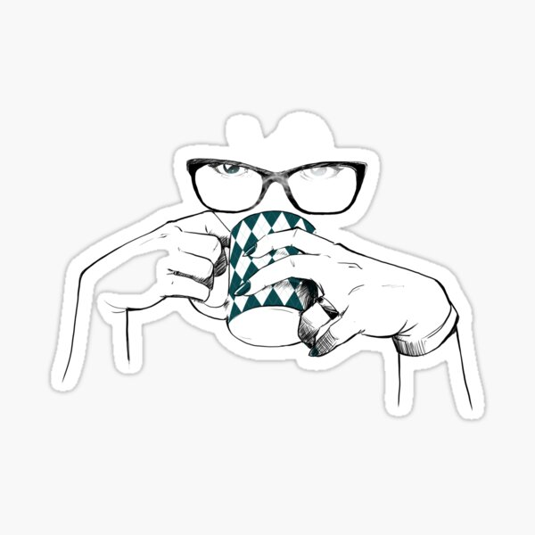 Coffee and Glasses Sticker