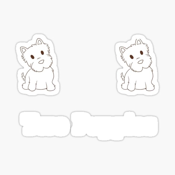 """""""Two Puppies"""" Girly Tshirt Sticker"""