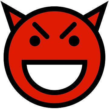 Smiley Face   Laughing Devil Face Red by DogBoo