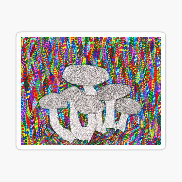 ordinary mushrooms in a psychedelic world  Sticker