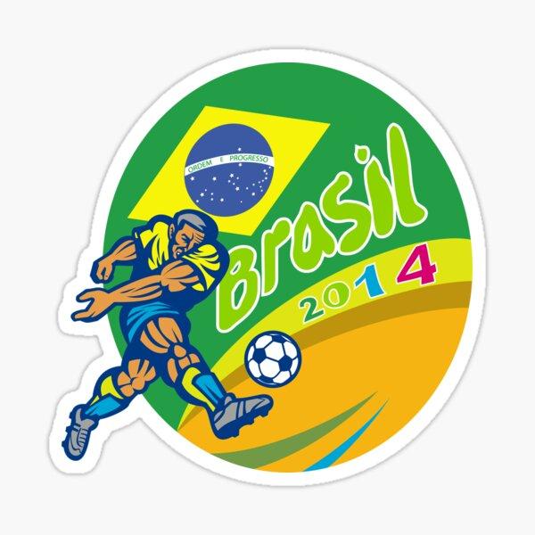 Brasil 2014 Football Player Kicking Retro Sticker
