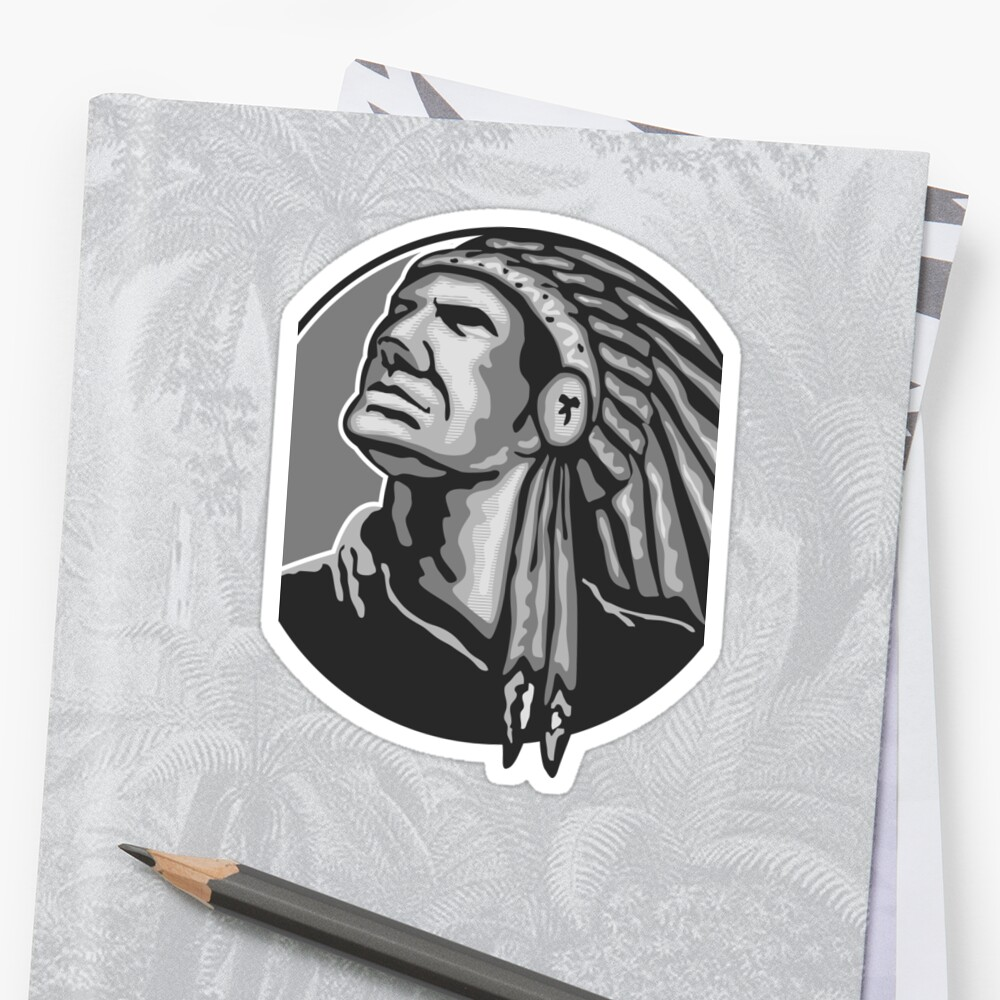 Native American Indian Chief Grayscale Sticker