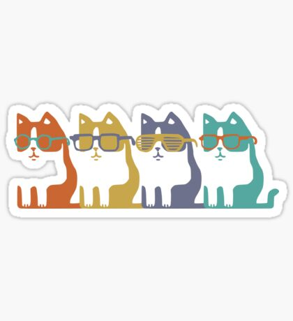 Cats In Glasses Row Glossy Sticker
