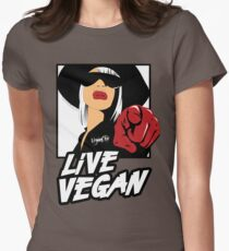 VeganChic ~ Live Vegan Fitted T-Shirt