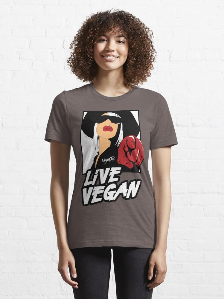 Alternate view of VeganChic ~ Live Vegan Essential T-Shirt