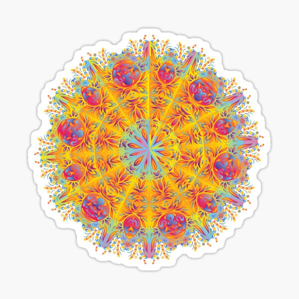 Psychedelic jungle kaleidoscope ornament 17 Sticker