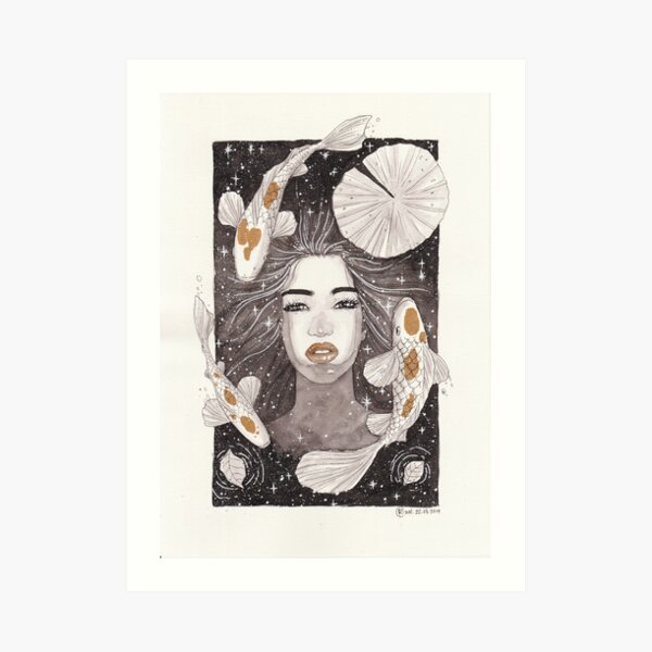 FISH LADY AND THE NIGHT SKY Art Print