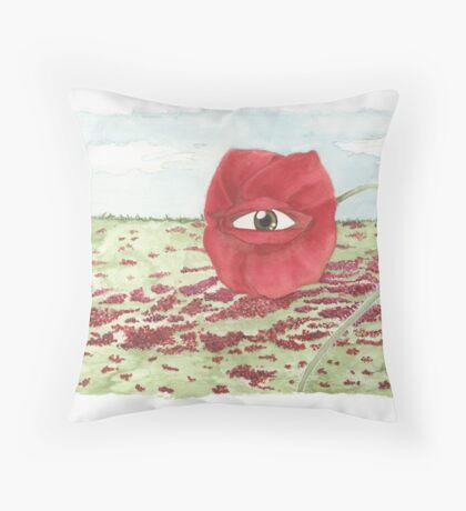 In a field of blind poppies, one eye is king Throw Pillow