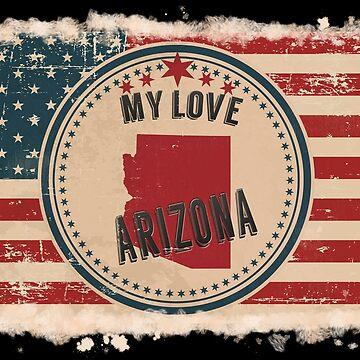 Arizona Vintage Retro US American Flag Design in Distress Look by Flaudermoon