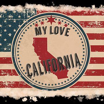 California Vintage Retro US American Flag Design in Distress Look by Flaudermoon