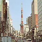 Tokyo Tower Seen from Gaien-Higashi-Dori - Painting by DLKR