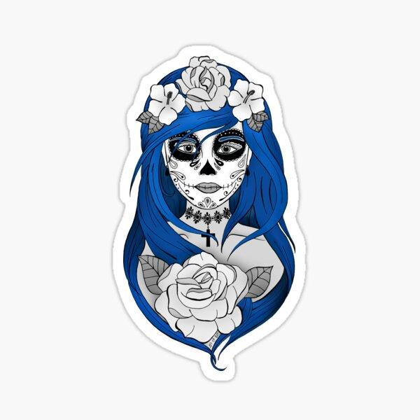 Santa Muerte Cheveux bleus Sticker