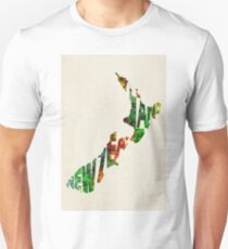 New Zealand Typographic Watercolor Map Unisex T-Shirt