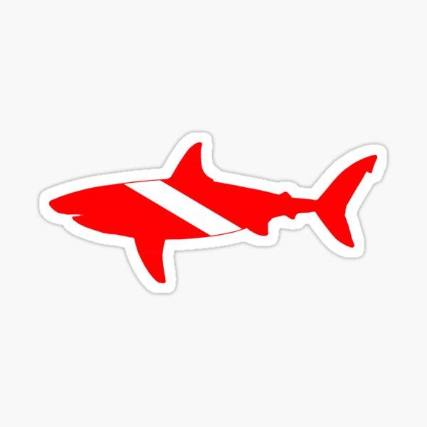 Diver Down Great White Shark Sticker