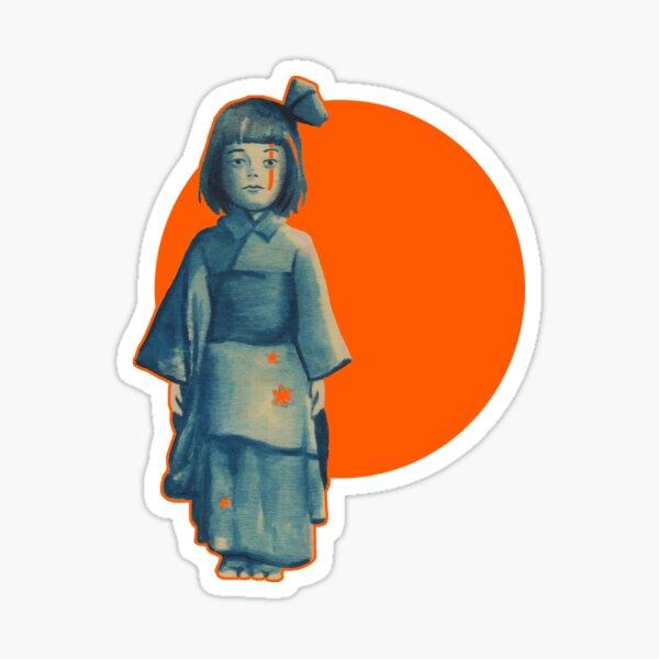 little girl in blue Sticker