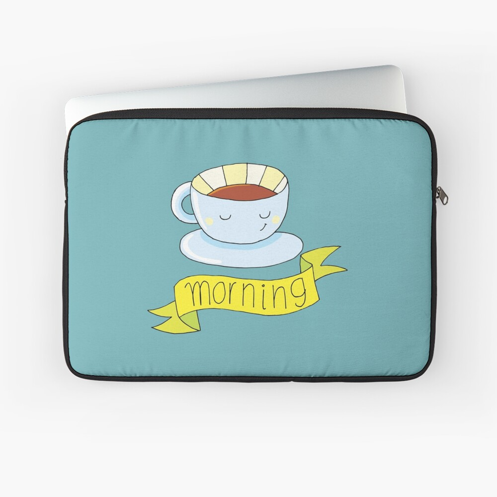 good morning with a cup of coffee Laptop Sleeve